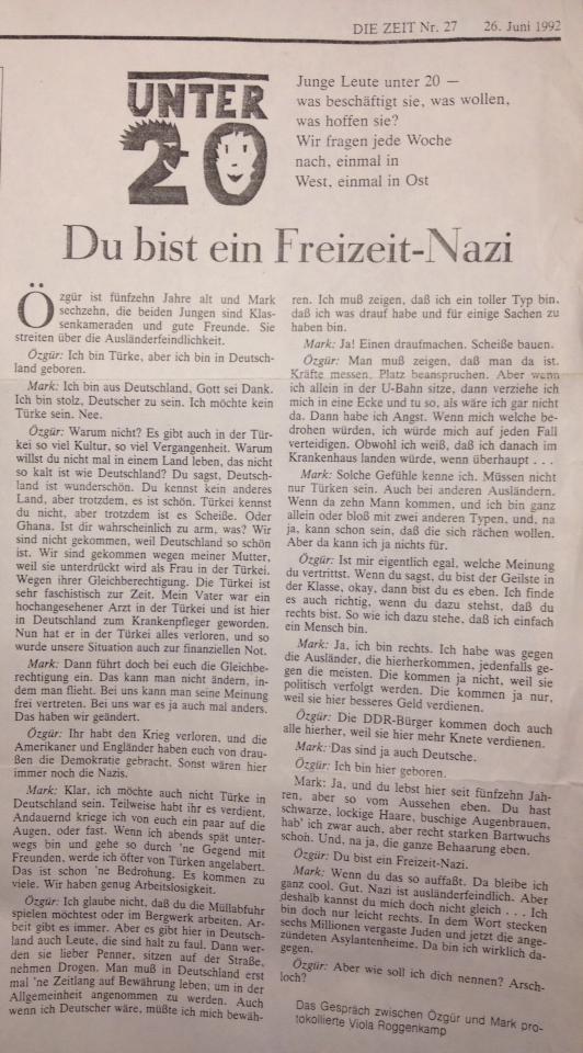 """Die Zeit 26.06.1992 """"Du bist ein Freizeit-Nazi"""""""
